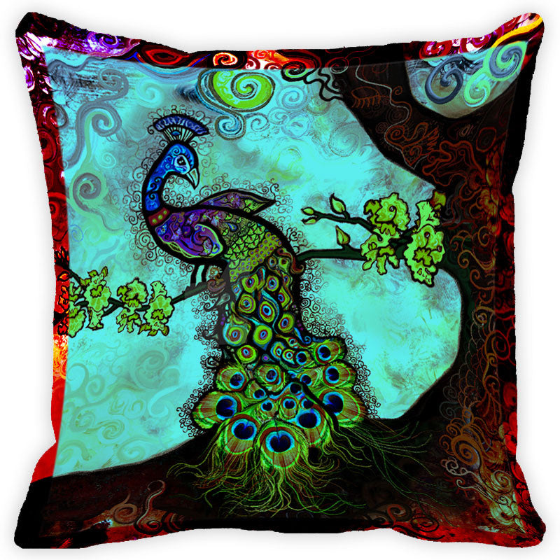 Leaf Designs Red And Multicolour Peacock Feather Cushion Cover (B) - Set Of 2