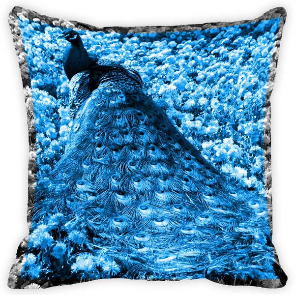 Leaf Designs Blue And Multicolour Peacock Feather Cushion Cover (F) - Set Of 2