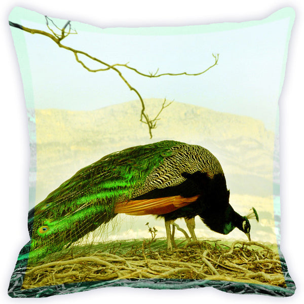 Leaf Designs Multicolour Peacock Cushion Cover (E)