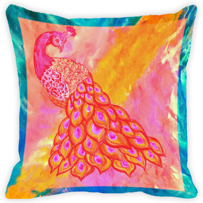 Leaf Designs Multicolour Peacock And Feather Cushion Cover (F) - Set Of 2