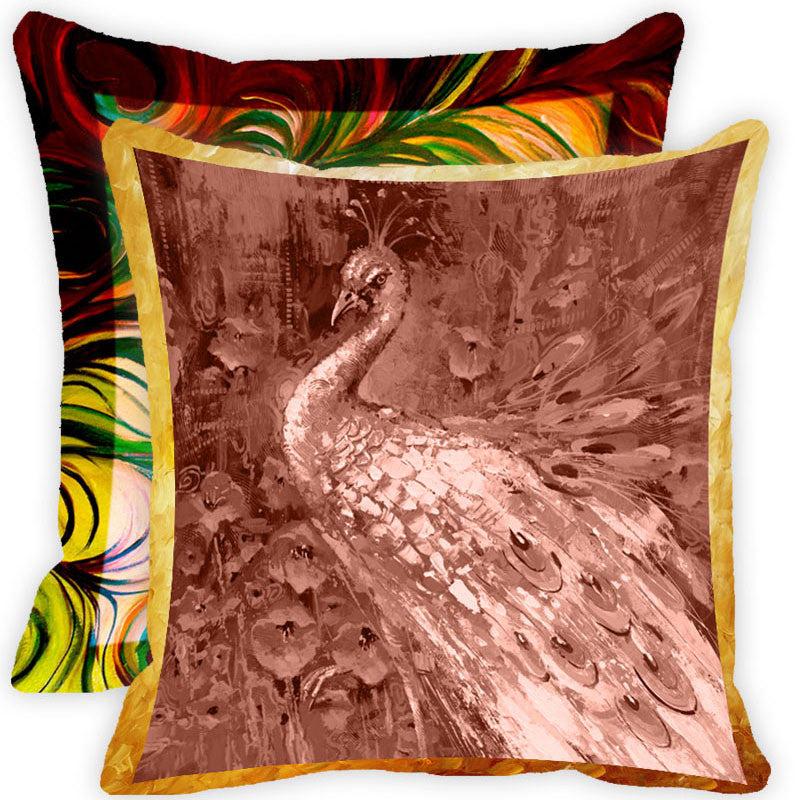 Leaf Designs Vintage Peacock With Multicolour Feather Cushion Cover (E) - Set Of 2