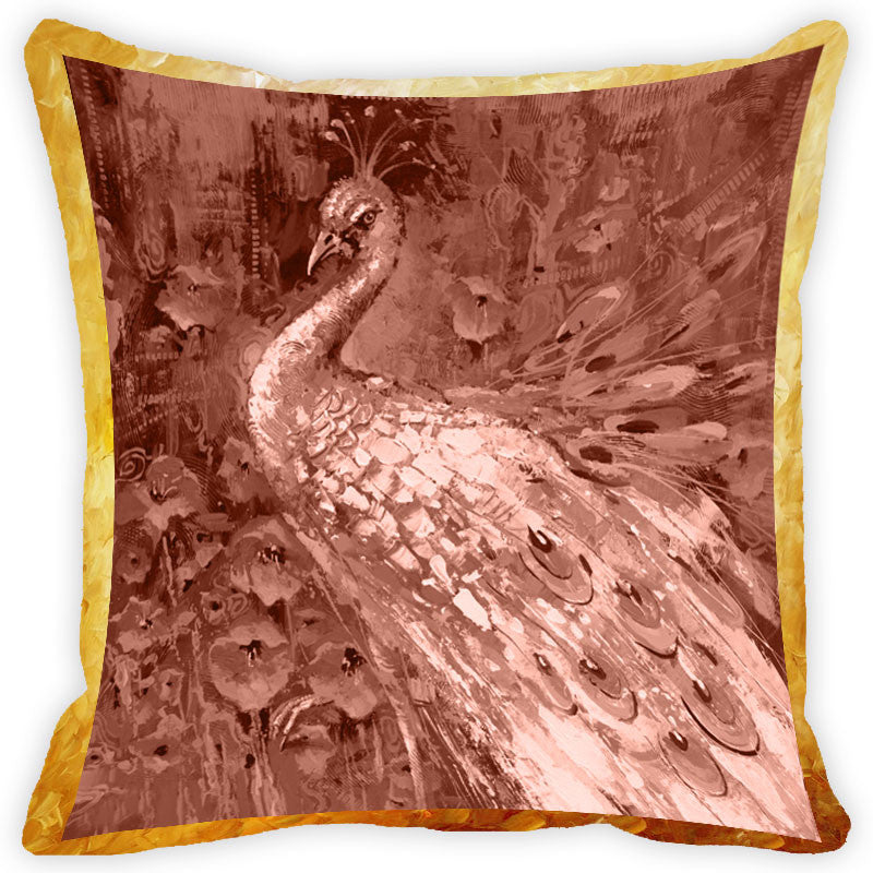 Leaf Designs Vintage Peacock Cushion Cover (F)