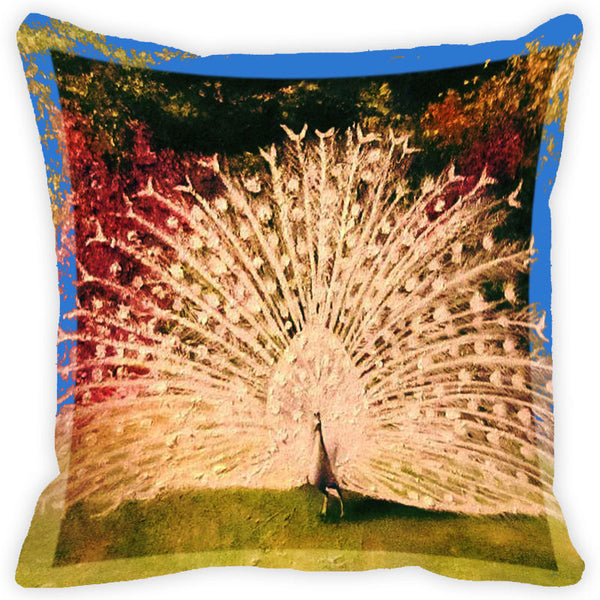Leaf Designs White Peacock Cushion Cover