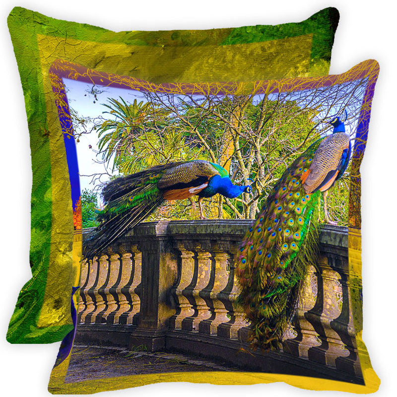 Leaf Designs Multicolour Peacock And Feather Cushion Cover (H) - Set Of 2