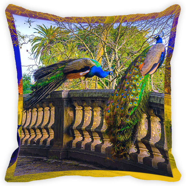 Leaf Designs Multicolour Peacock Cushion Cover (G)