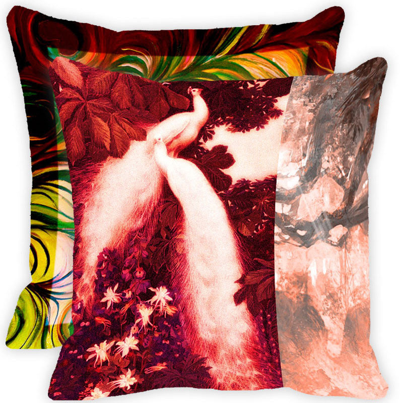 Leaf Designs Red And Multicolour Peacock Feather Cushion Cover - Set Of 2