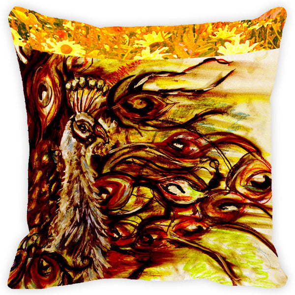 Leaf Designs Yellow And Multicolour Peacock Feather Cushion Cover - Set Of 2