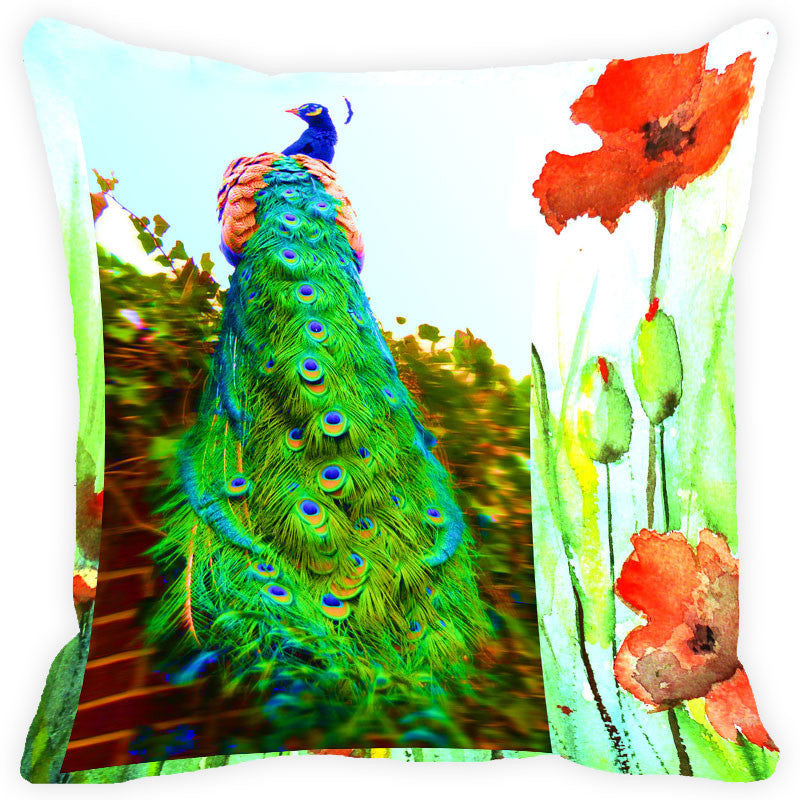 Leaf Designs Green Peacock Cushion Cover (C)