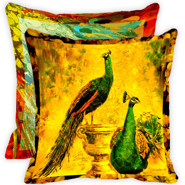 Leaf Designs Vintage Peacock With Multicolour Feather Cushion Cover (F) - Set Of 2