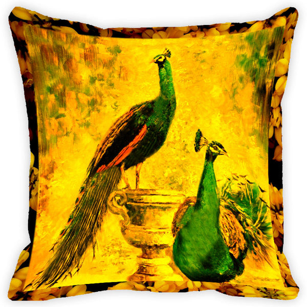 Leaf Designs Vintage Peacock Cushion Cover