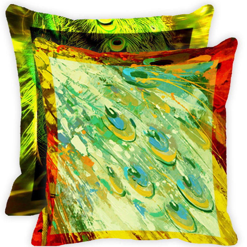 Leaf Designs Green And Multicolour Peacock Feather Cushion Cover (E) - Set Of 2