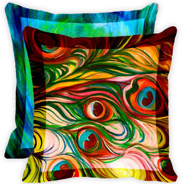 Leaf Designs Blue And Multicolour Peacock Feather Cushion Cover (G) - Set Of 2