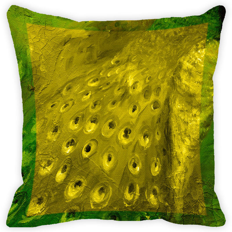 Leaf Designs Green Peacock Feather Cushion Cover - Set Of 2