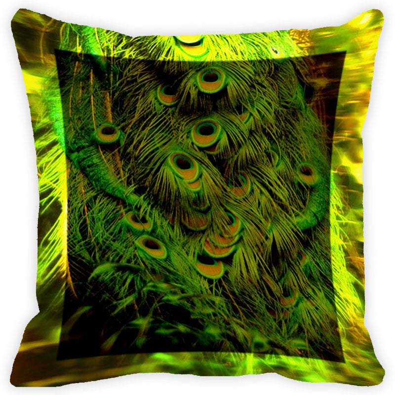 Leaf Designs Blue And Green Peacock Feather Cushion Cover (A) - Set Of 2