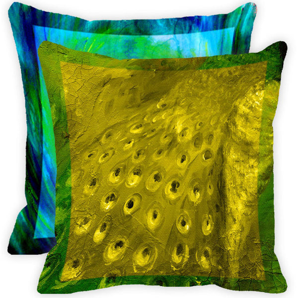 Leaf Designs Blue And Green Peacock Feather Cushion Cover - Set Of 2