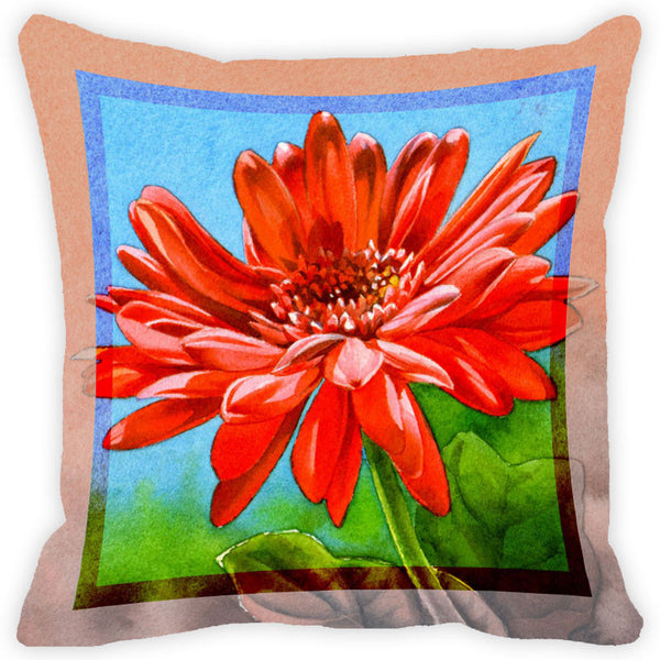Leaf Designs Scarlet Red Flower Cushion Cover