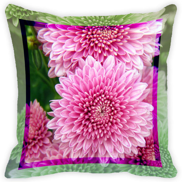 Leaf Designs Pink Flower Cushion Cover (A)