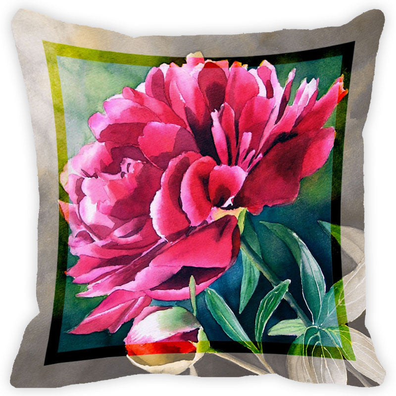 Leaf Designs Deep Pink Flower Cushion Cover