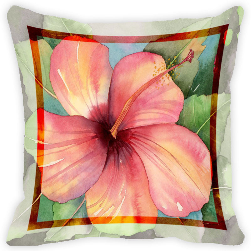 Leaf Designs Light Coral Flower Cushion Cover