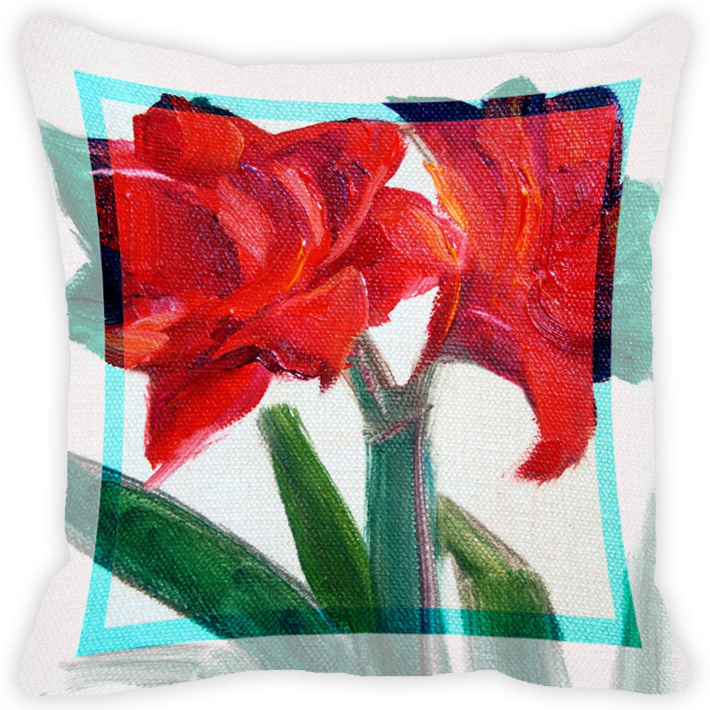 Leaf Designs Red Flower Cushion Cover
