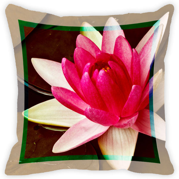 Leaf Designs Fuchsia Flower Cushion Cover