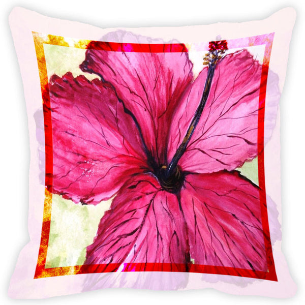 Leaf Designs Rani Pink Flower Cushion Cover