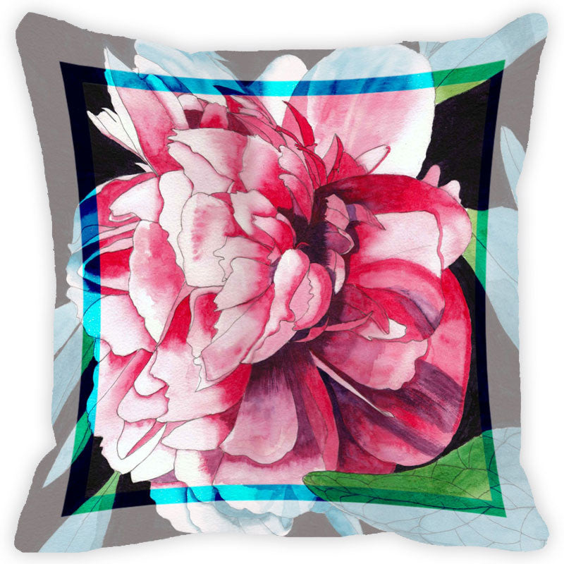 Leaf Designs Pink Tones Flower Cushion Cover