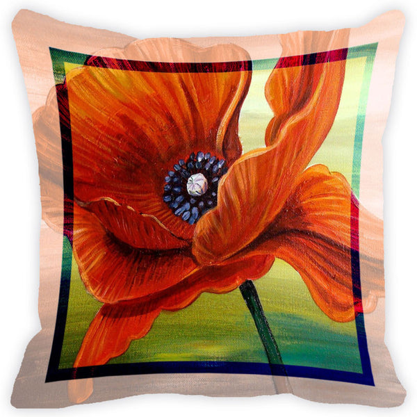Leaf Designs Orange Flower Cushion Cover (B)