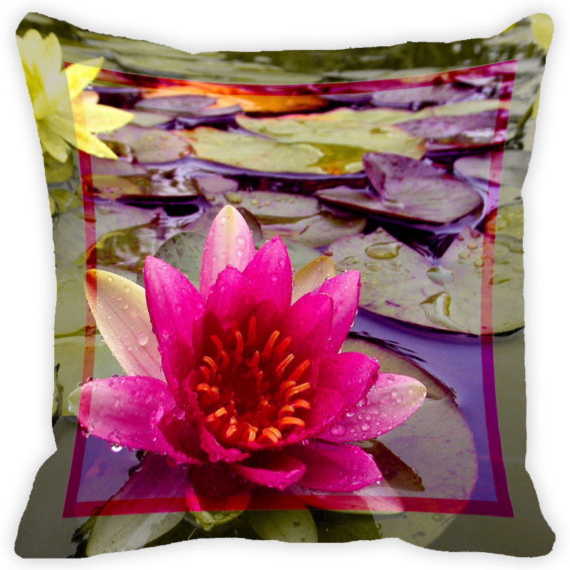 Leaf Designs Hot Pink Flower Cushion Cover
