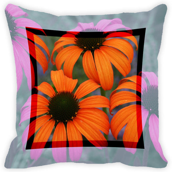 Leaf Designs Orange & Brown Flower Cushion Cover