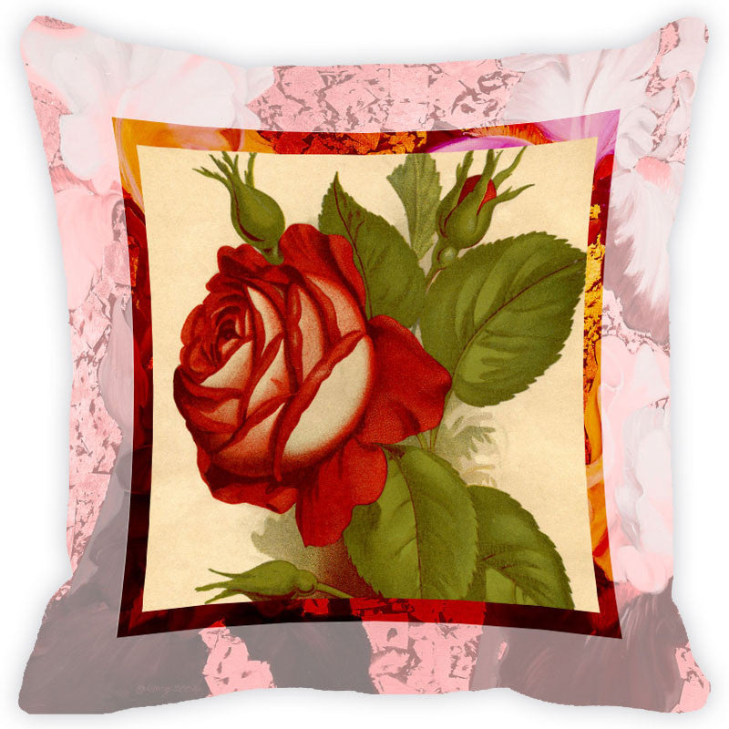 Leaf Designs Lemon & Red Flower Cushion Cover