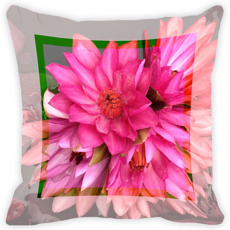 Leaf Designs Bright Pink Flower Cushion Cover