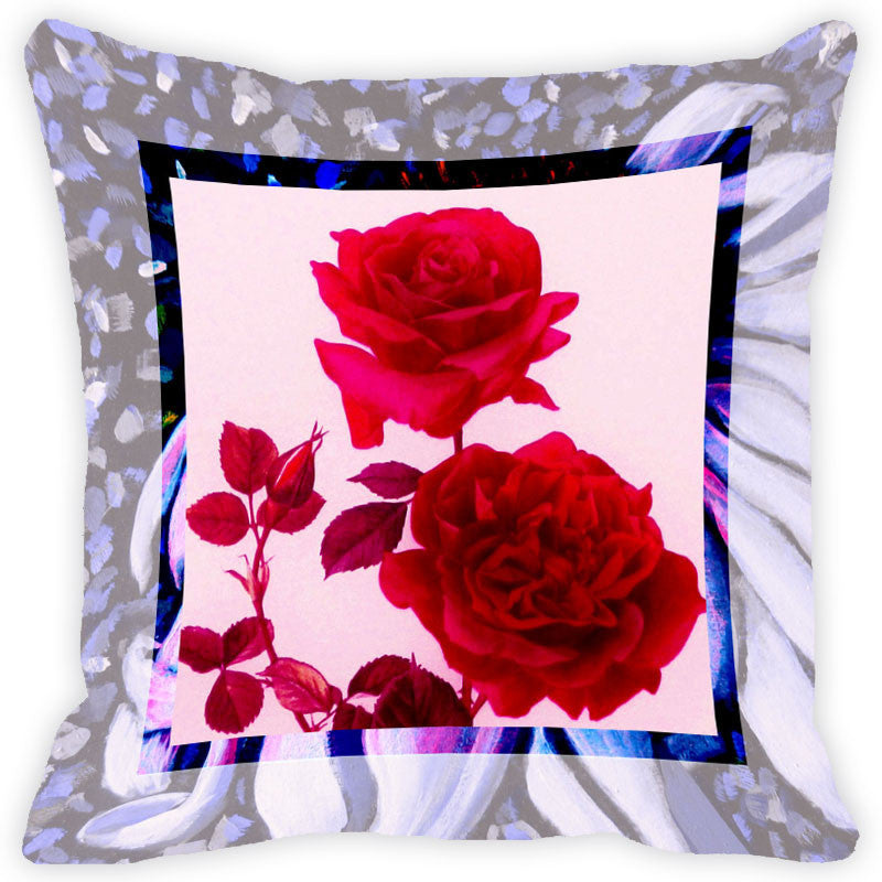 Leaf Designs Bright Red Flower Cushion Cover