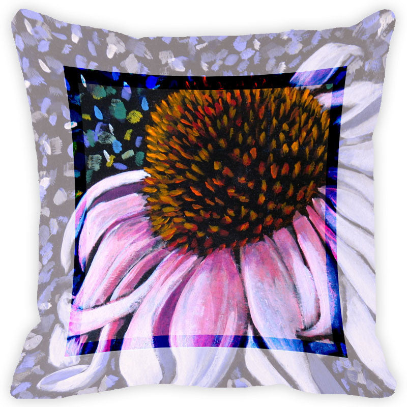 Leaf Designs Light Pink Flower Cushion Cover
