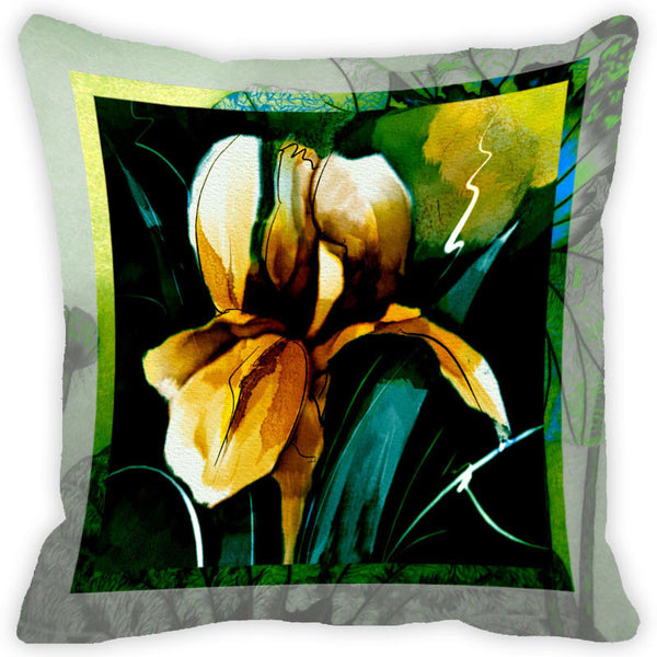 Leaf Designs Yellow Flower Cushion Cover