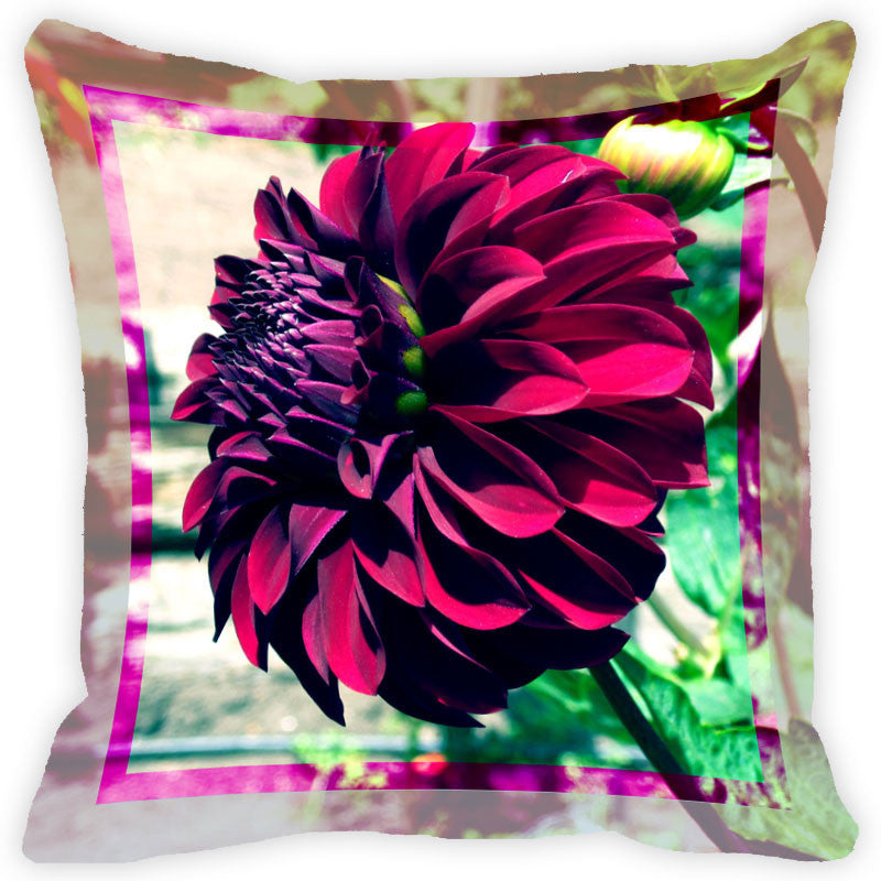 Leaf Designs Purple & Pink Flower Cushion Cover