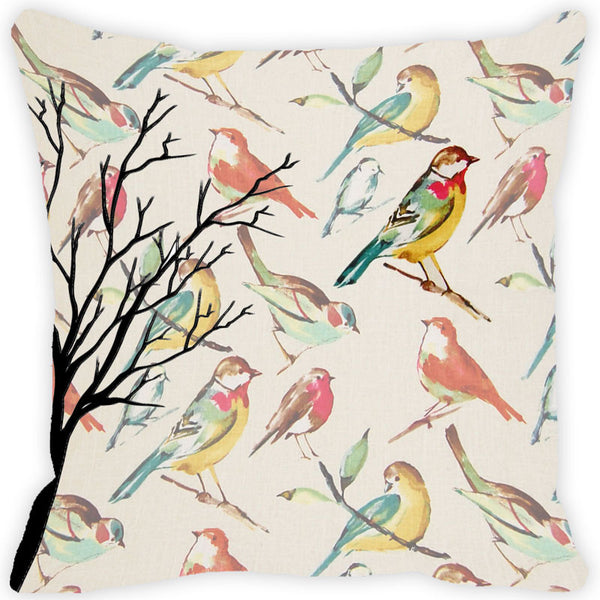 Leaf Designs Multi Bird Vintage Cushion Cover