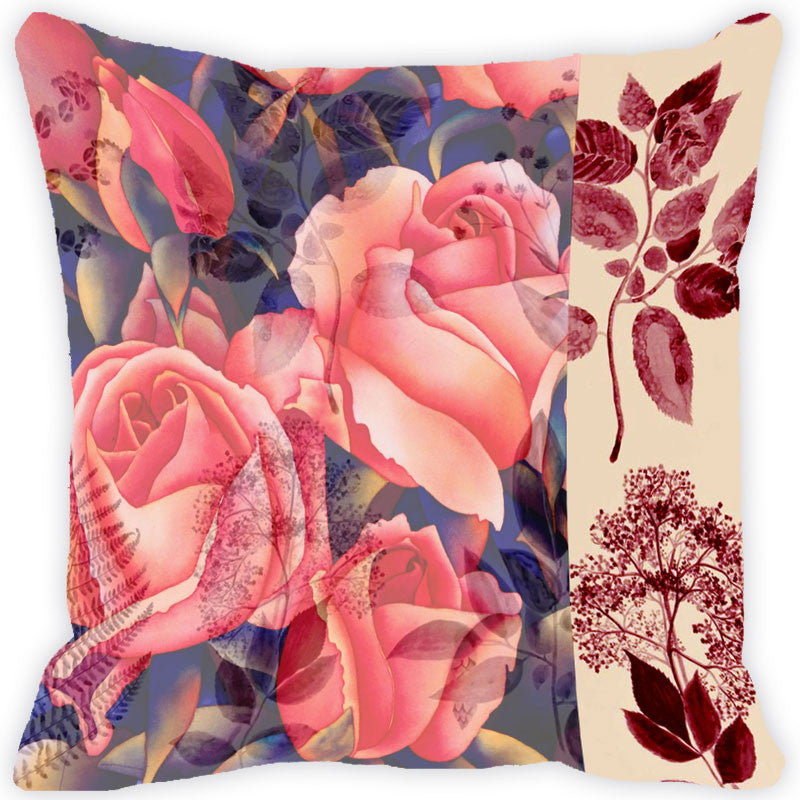 Leaf Designs Coral Rose Vintage Cushion Cover