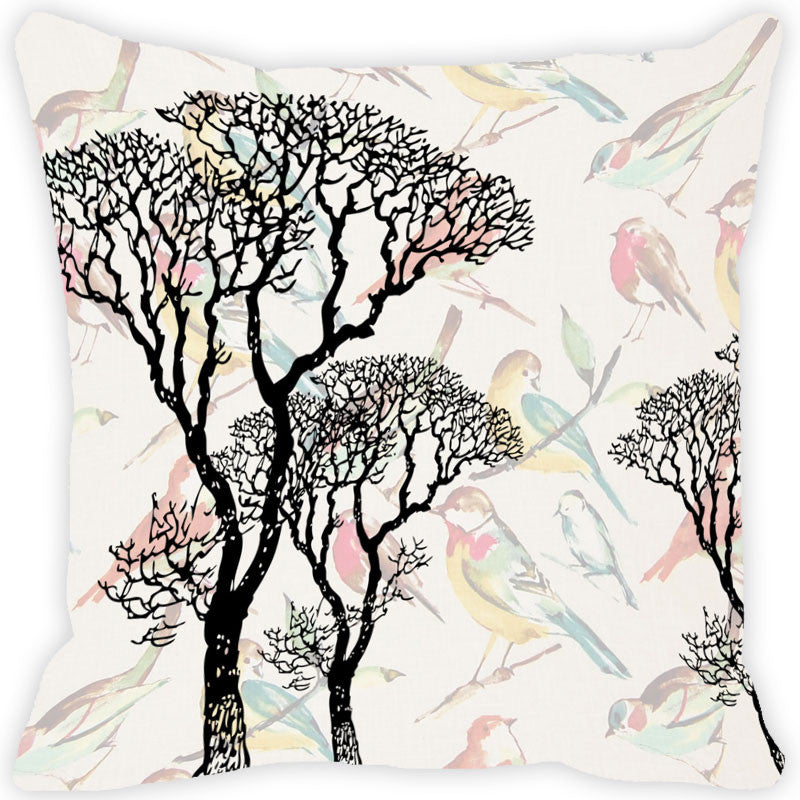 Leaf Designs Cream & Black Tree Vintage Cushion Cover