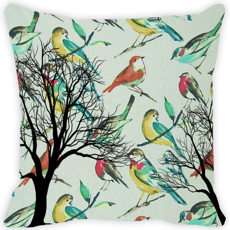 Leaf Designs Green Tones Vintage Cushion Cover