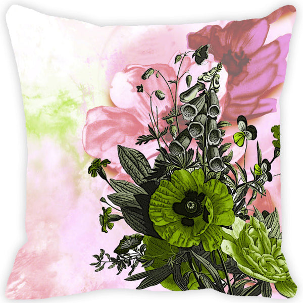 Leaf Designs Green Floral Spray Vintage Cushion Cover