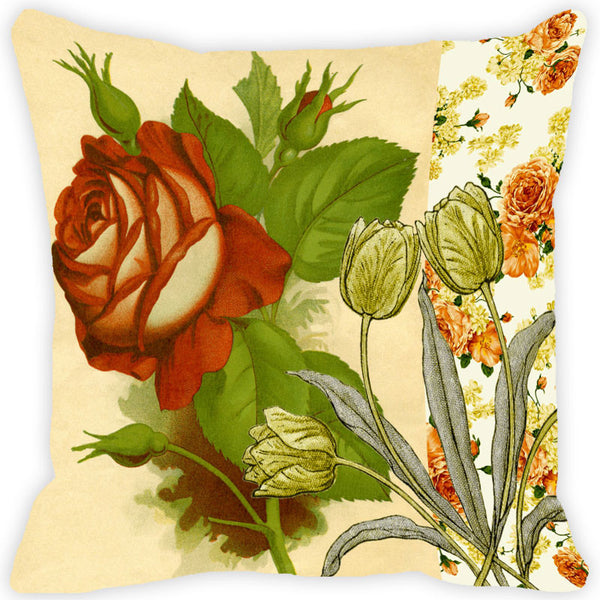 Leaf Designs Rose Vintage Cushion Cover