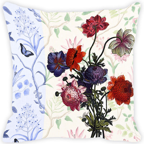 Leaf Designs Cream & Blue Vintage Cushion Cover