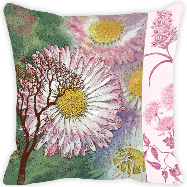 Leaf Designs Light Pink & Green Vintage Cushion Cover