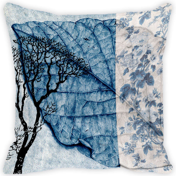 Leaf Designs Blue Leaf Vintage Cushion Cover