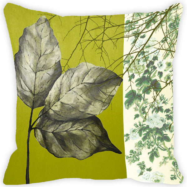 Leaf Designs Green Leaf Vintage Cushion Cover