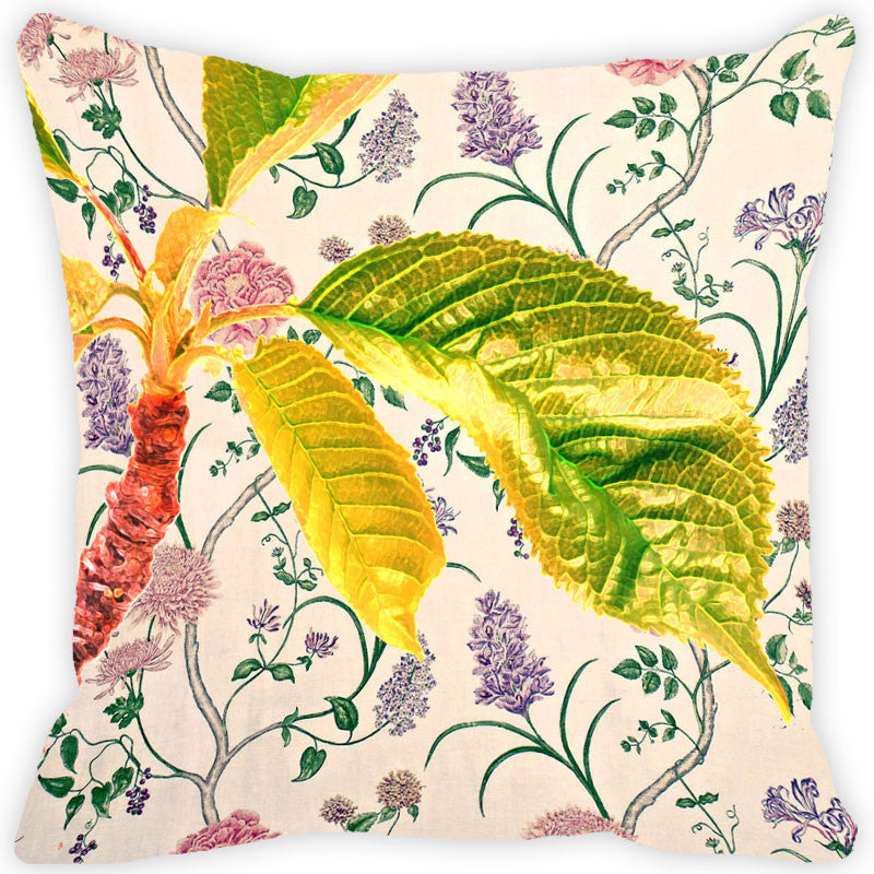 Leaf Designs Yellow & Green Leaves Vintage Cushion Cover