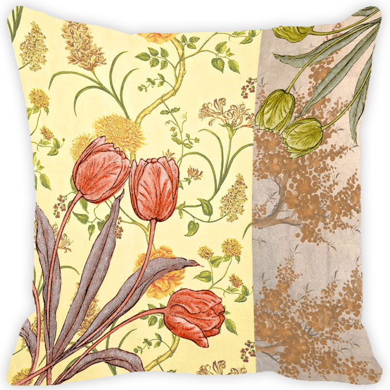 Leaf Designs Coral & Green Vintage Cushion Cover