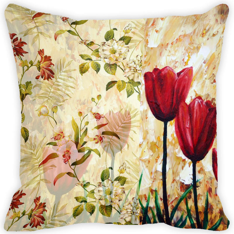 Leaf Designs Dark Red Vintage Cushion Cover