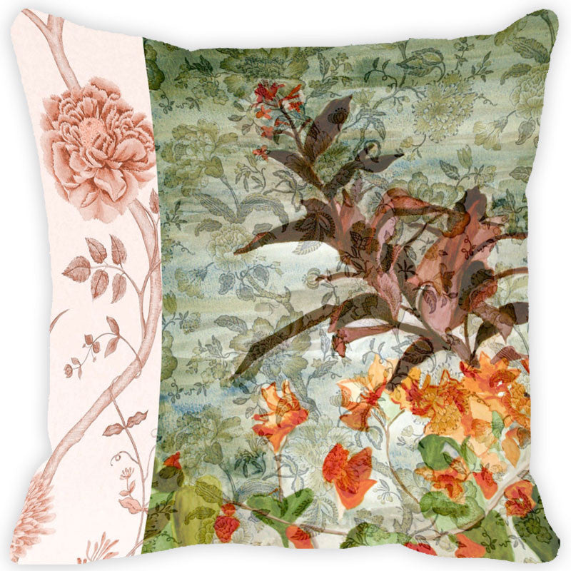 Leaf Designs Multi Colored Vintage Cushion Cover